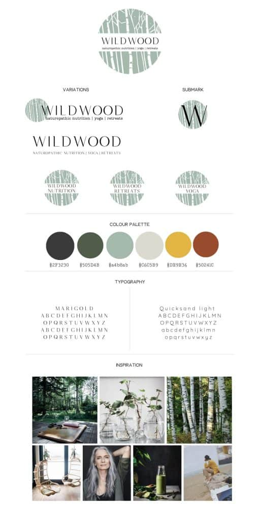 Wildwood Nutrition brandboard - brand moodboard naturopath clinic & yoga retreat centre by Be More You Branding and Design