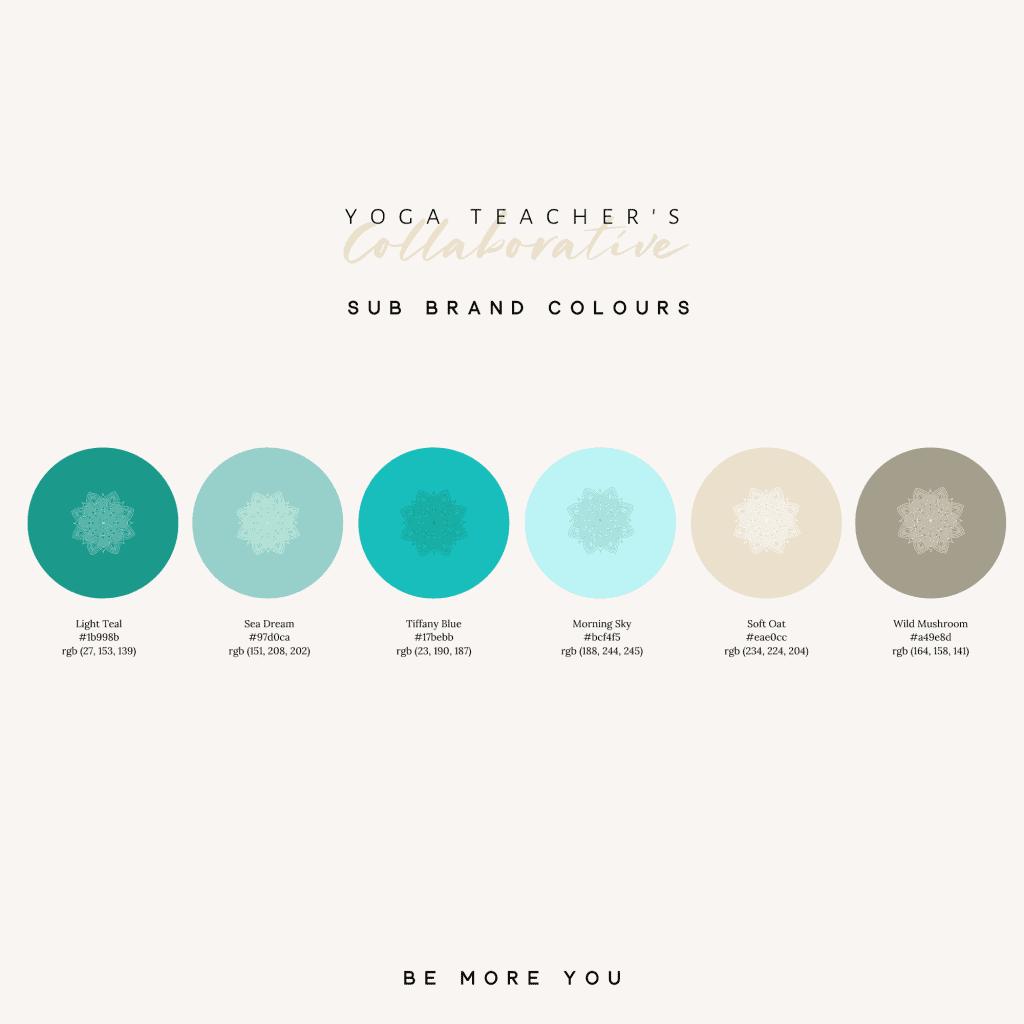 yoga teacher collaborative brand colour palette. Calm muted tones teal, sea green, sky blue, oatmeal and mushroom