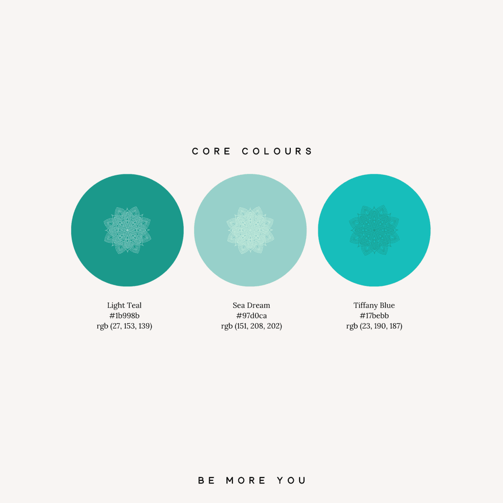 Turquoise and teal brand colour palette | brand design