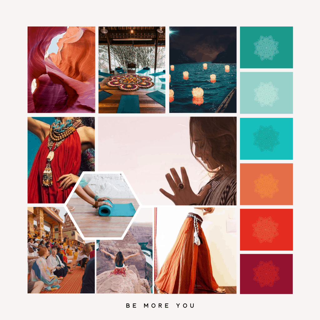 Turquoise, teal, red and orange Yoga brand board | brand identity | Created by Be more you branding and marketing