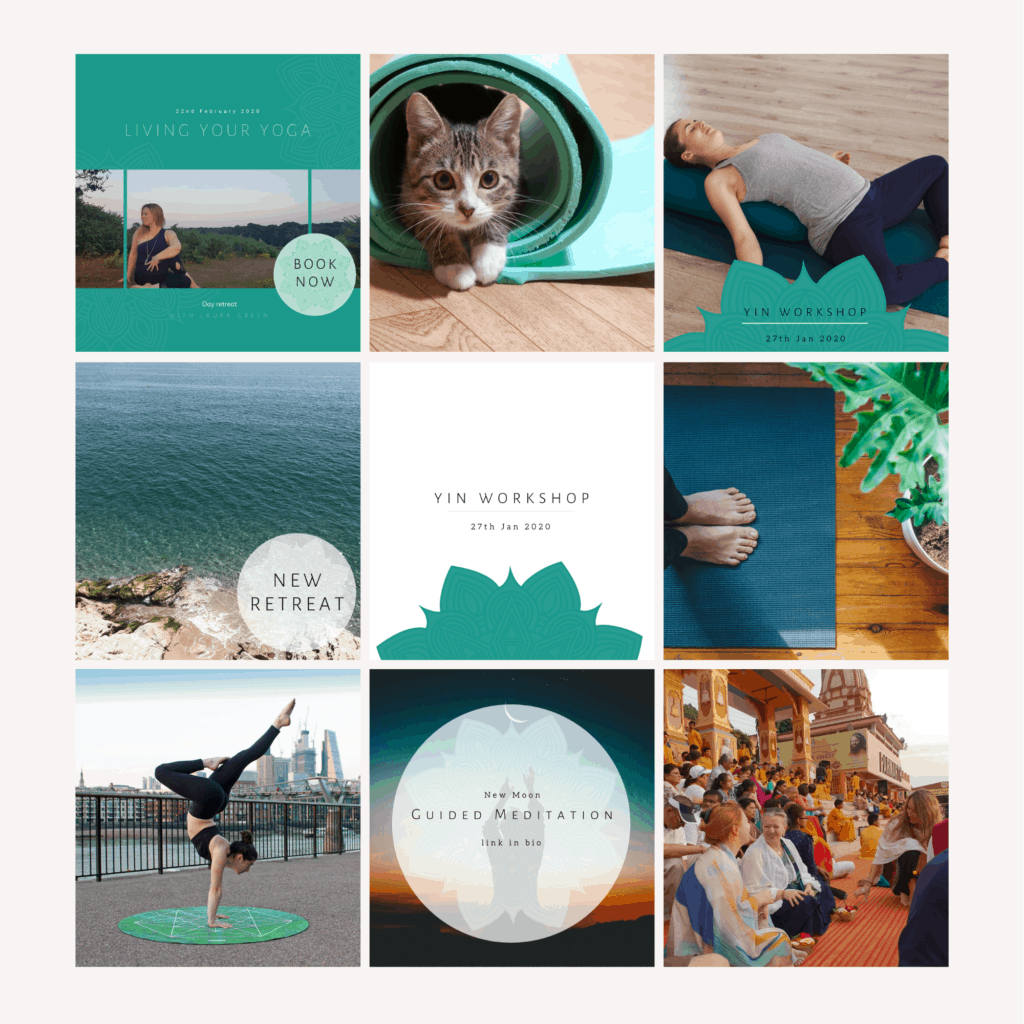 Examples of Instagram banded post designs for Laura Green yoga