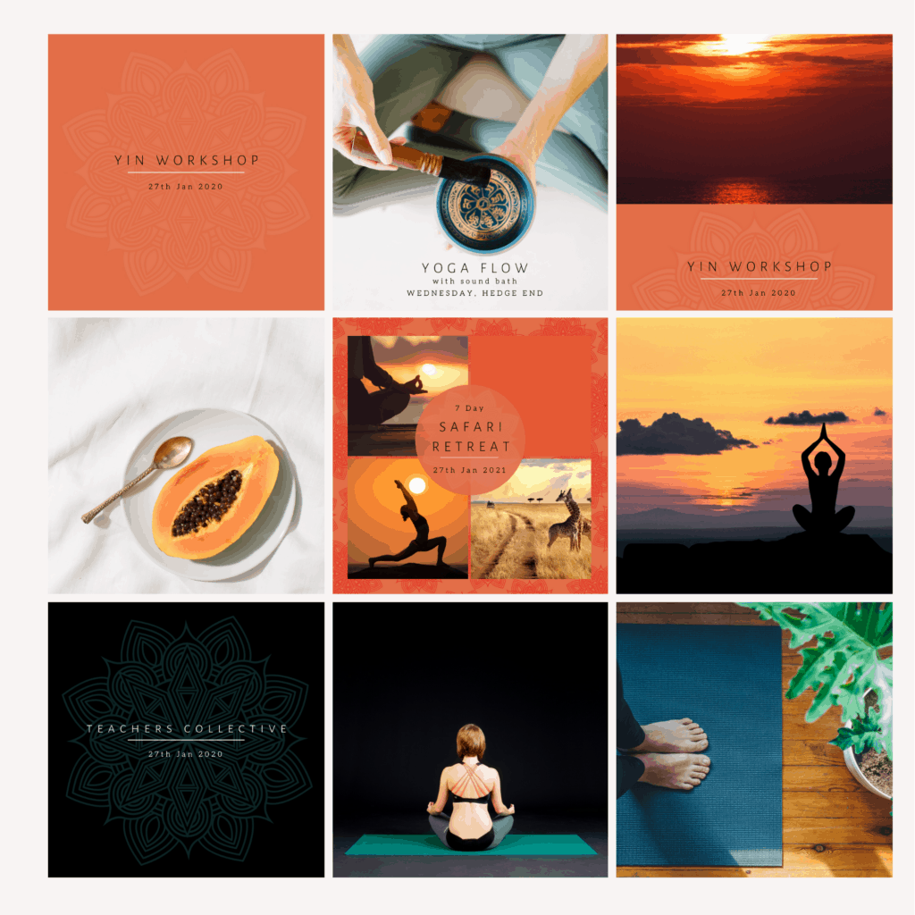 Examples of Instagram banded post designs for Laura Green yoga Soul retreats and teacher training