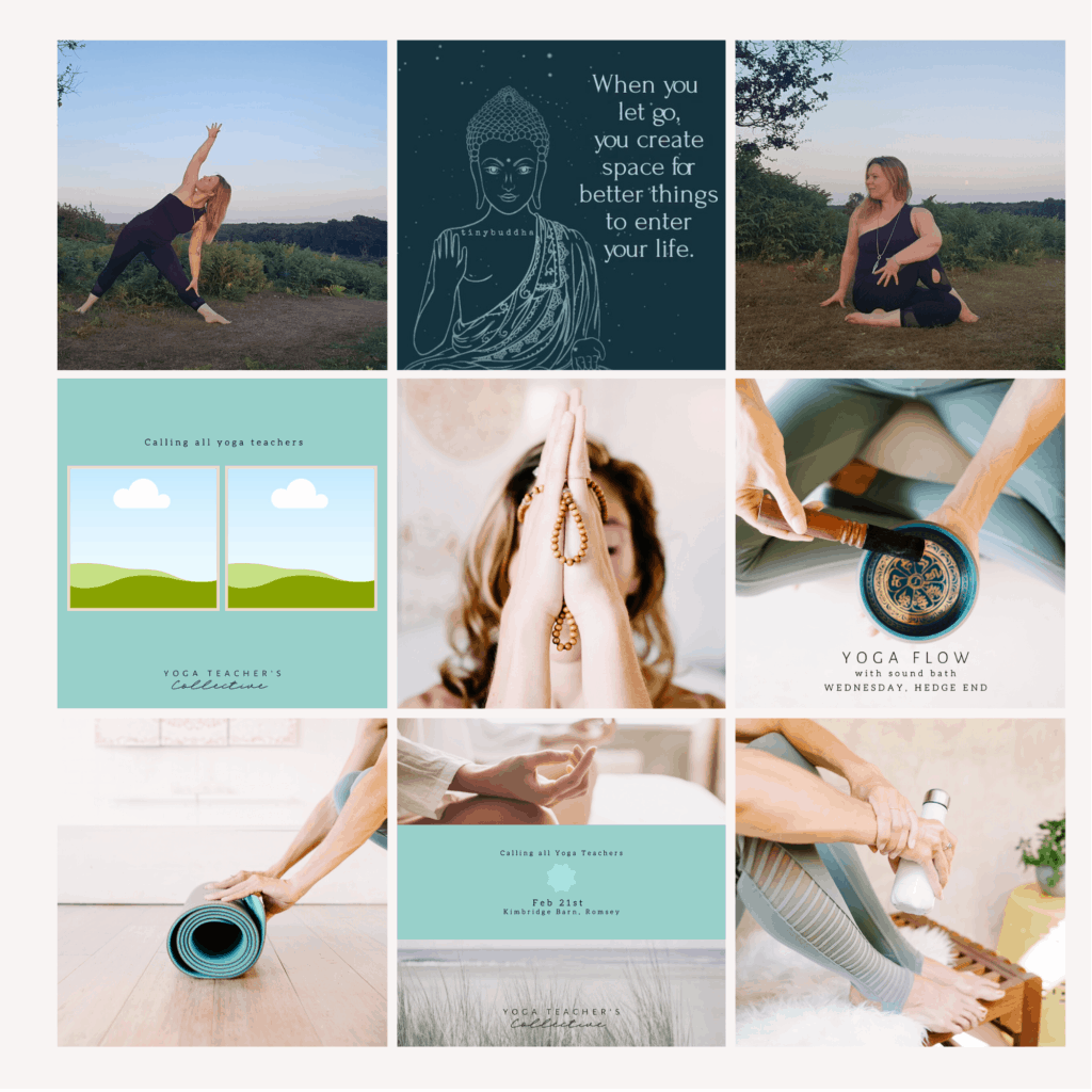 Examples of Instagram banded post designs for The Yoga Teacher's collaborative