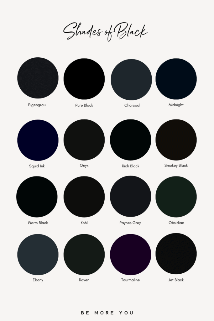 Black Colour Names and swatches | Shades of Black