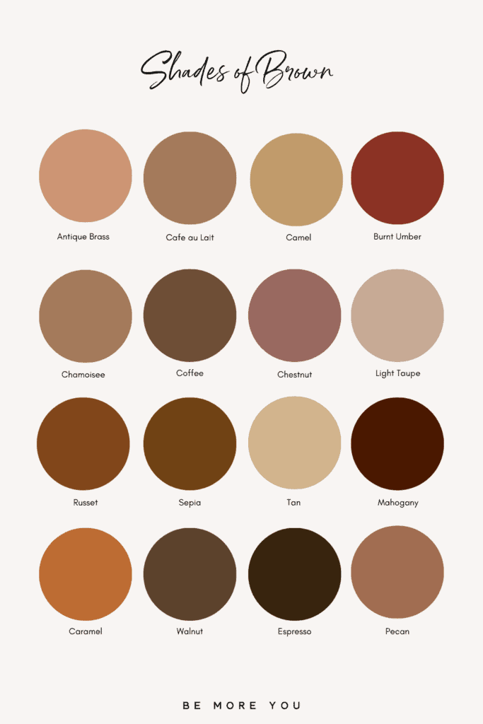 Brown Colour Names and swatches | Shades of Brown