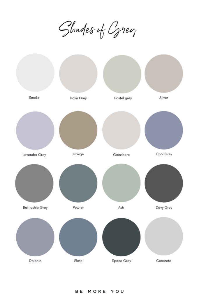 Grey Colour Names and swatches | Shades of Grey
