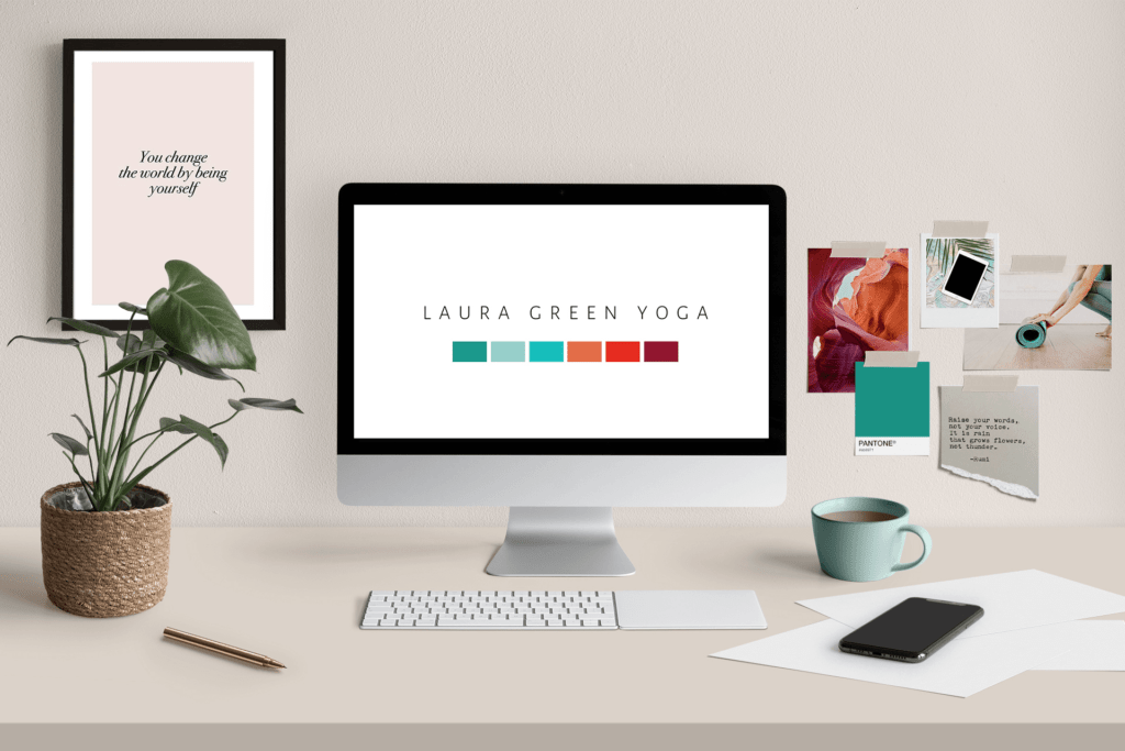 Brand identity design mock up for Laura Green Yoga | Screen & brand mood board on wall