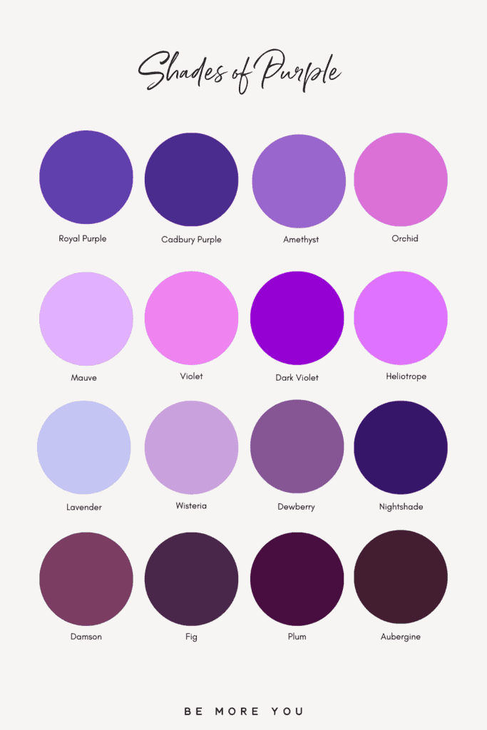16 Purple Colour Names + Swatches | Shades of Purple
