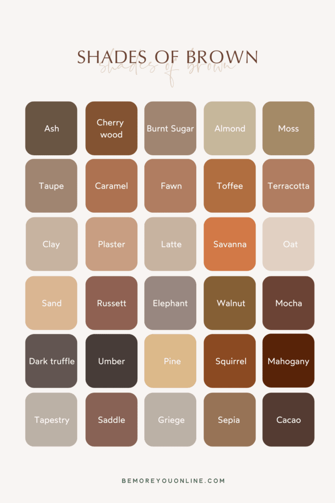 Shades of brown - brown colour names neutral earthy colour palette
