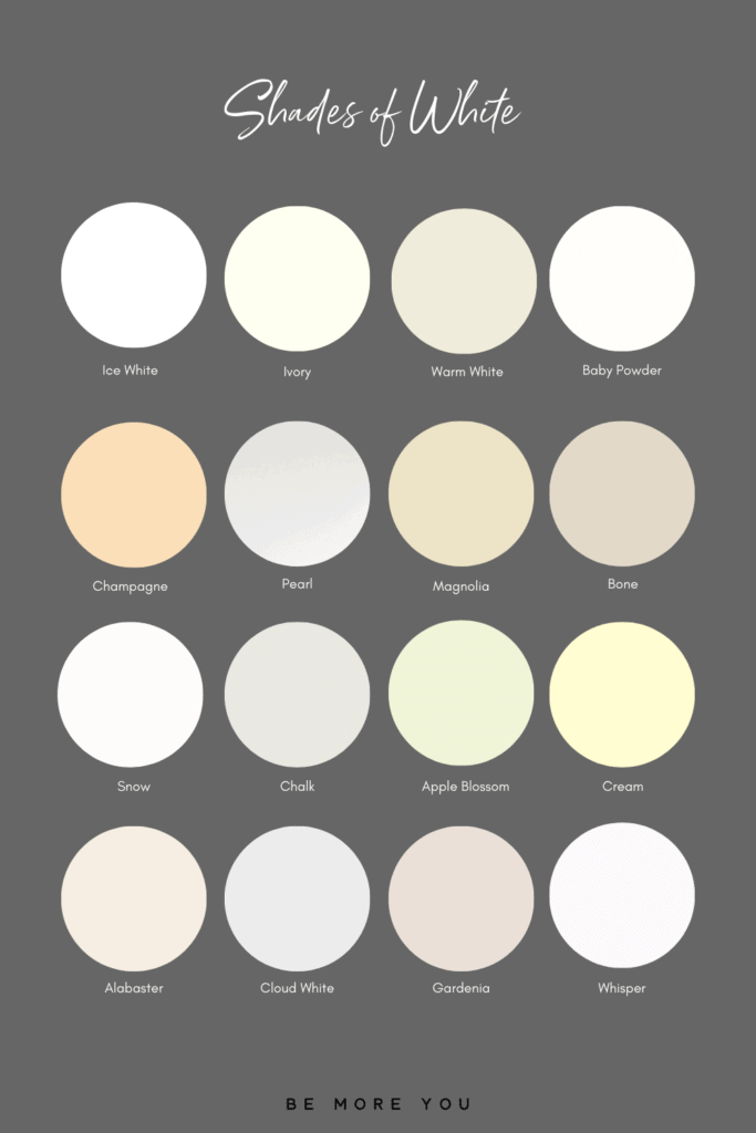 16 White Colour Names and swatches | Shades of White
