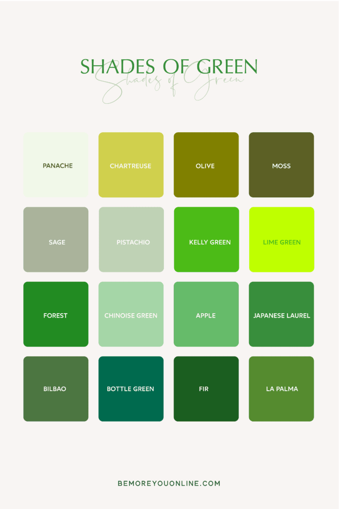 shades of green - 16 greeen color names and green tones