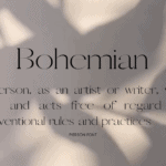 Bohemian definiton in Boho Pierson font on Canva