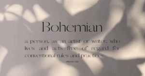 Bohemian definiton in Boho Pierson font on Canva
