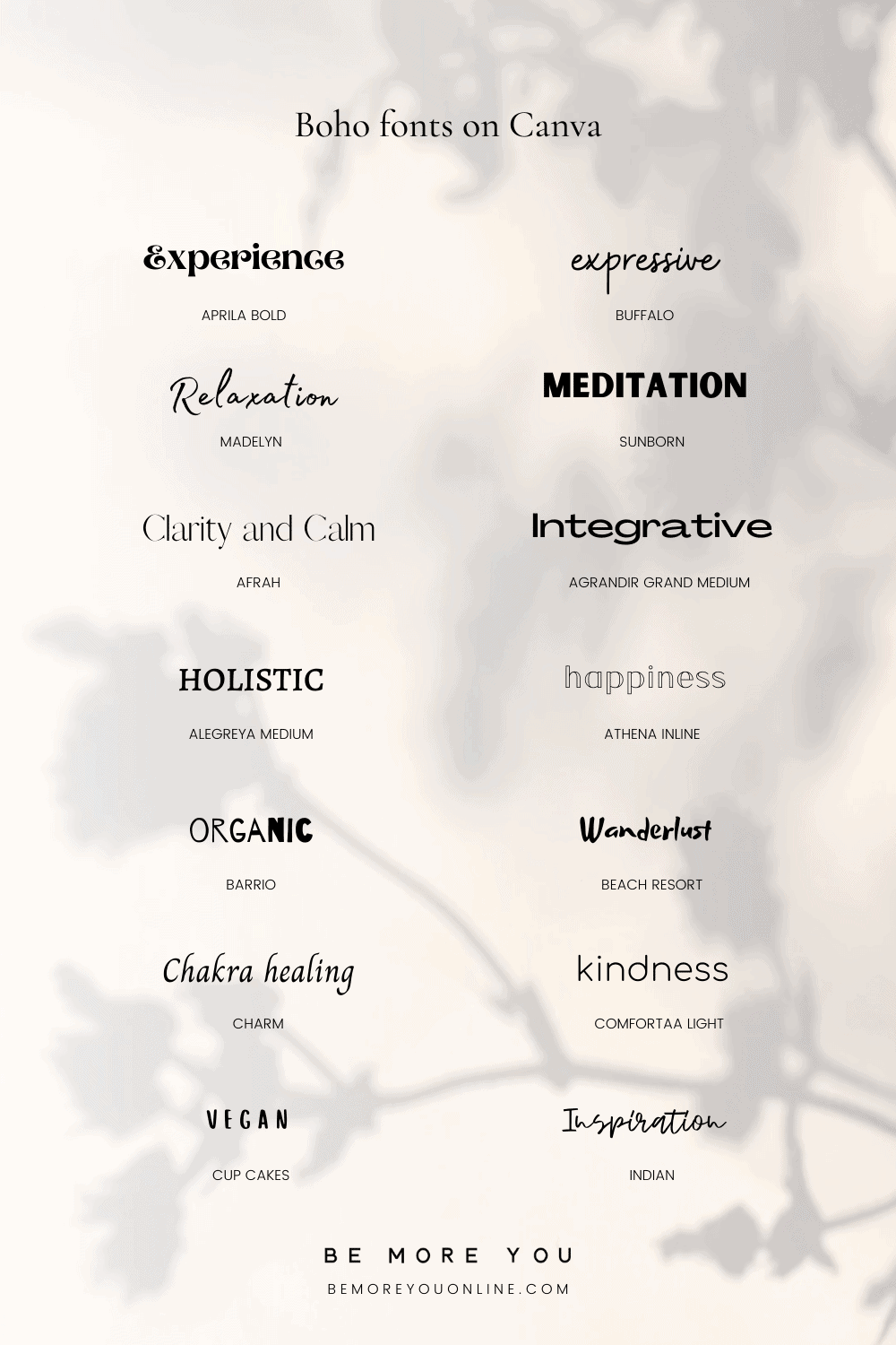 Examples of Boho fonts on canva