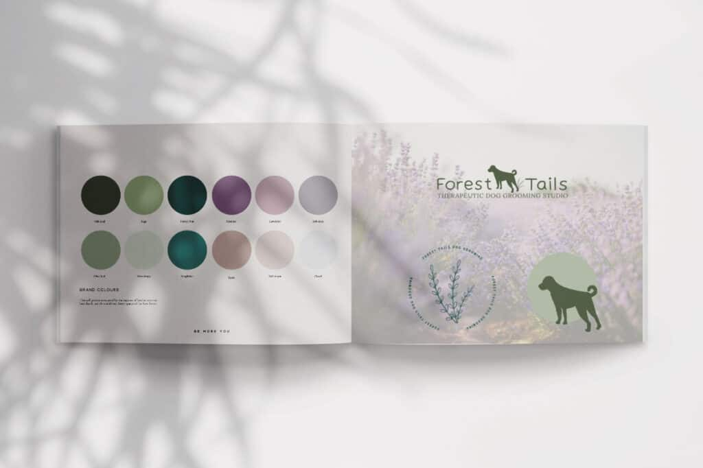 Forest Tails brand colour palette be more you brand design