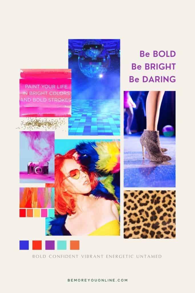 Bold bright personal brand mood board