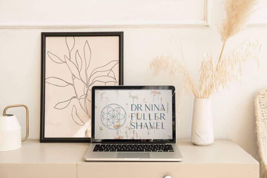 Brand Mock up Dr Nina Fuller Shavel Integrative medicine doctor logo brand design3 1920x1080