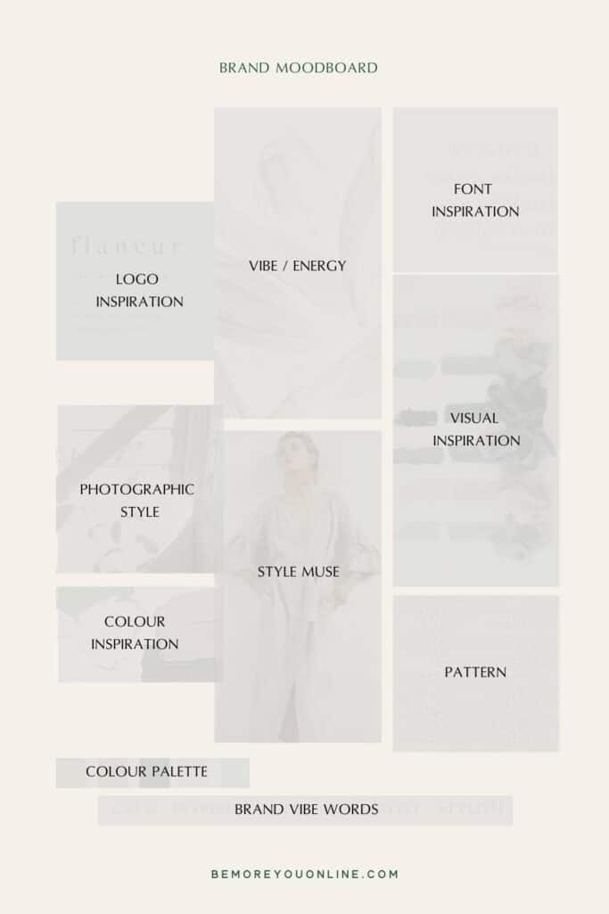 What to include on a brand mood board template