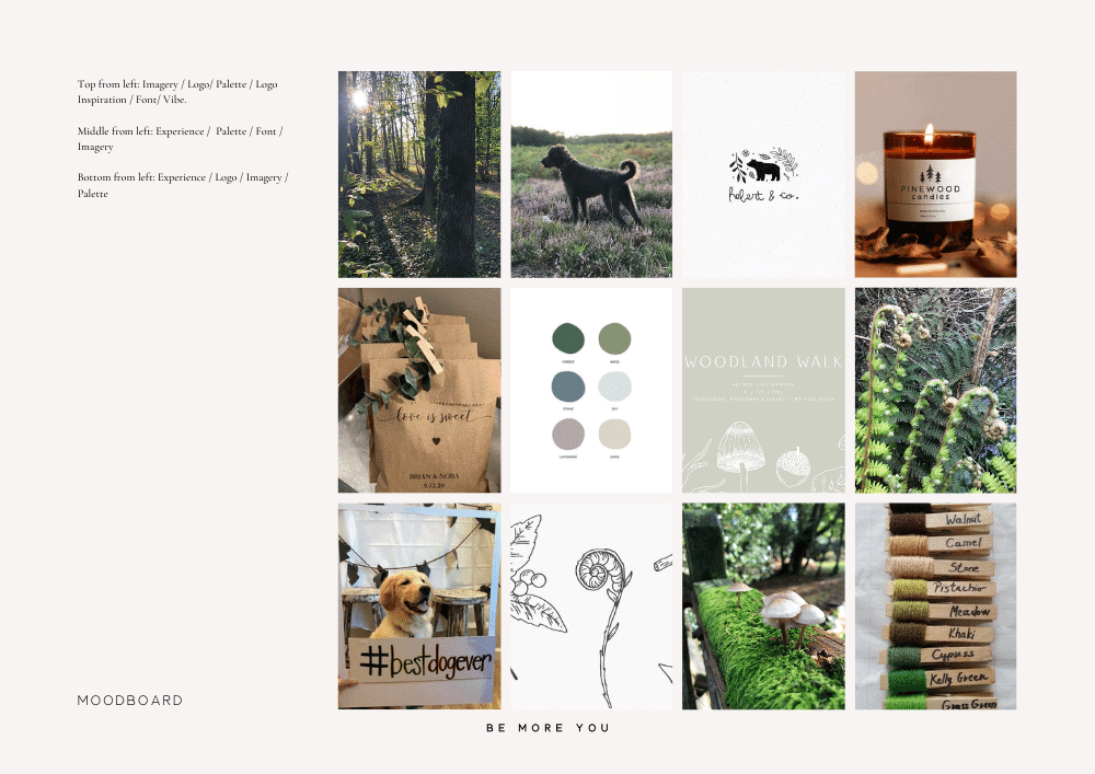 mood board example - Forest Tails Brand mood board
