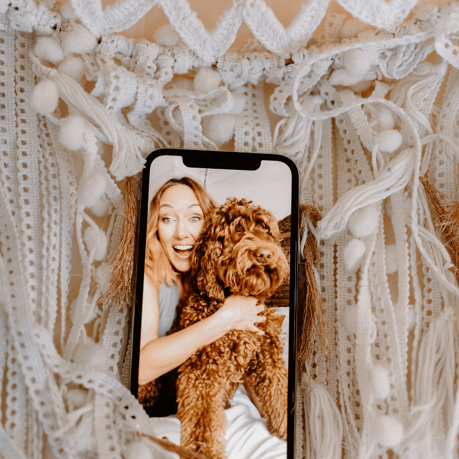 Danielle Garber Brand designer and Red the labradoodle Be More you branding and marketing
